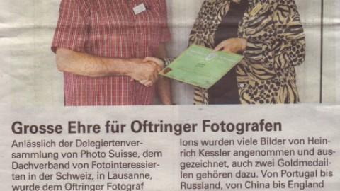 Grosse Ehre für AARSO Fotograf