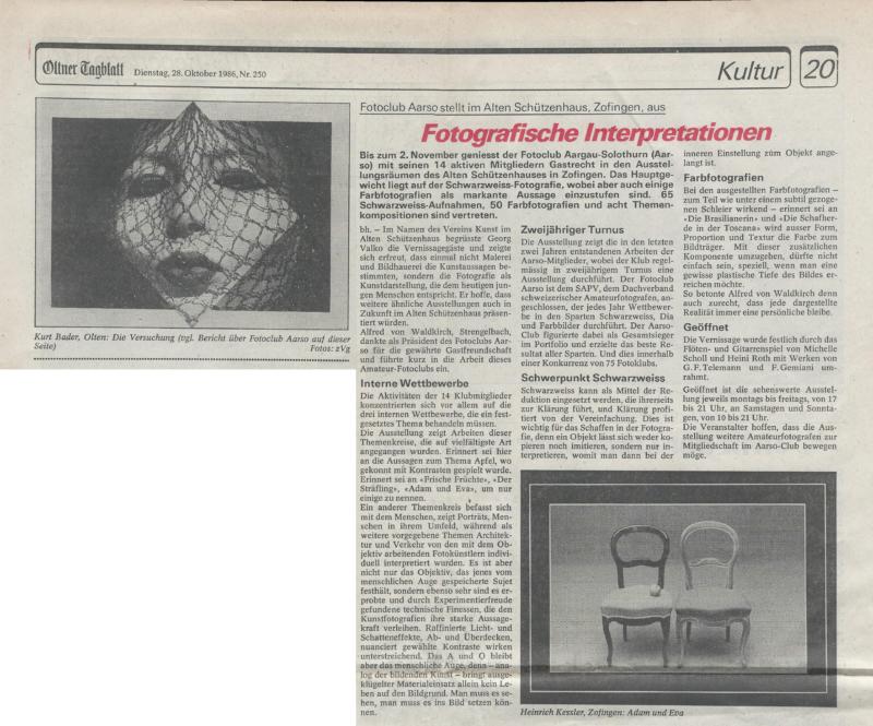 Zeitungsauschnitt Oltner Tagblatt